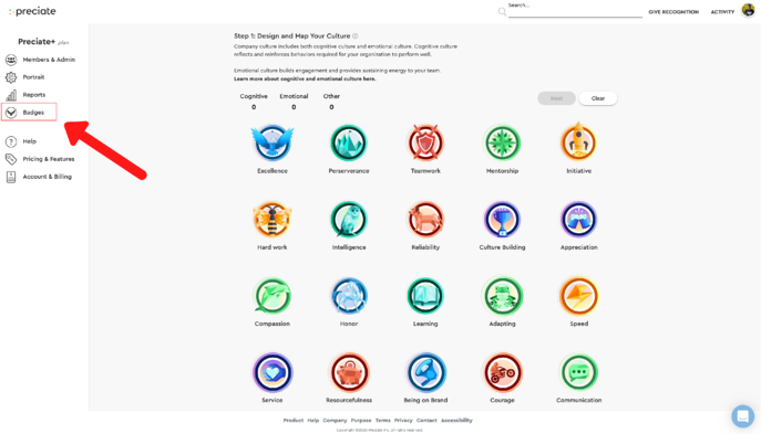 badge page in admin portal