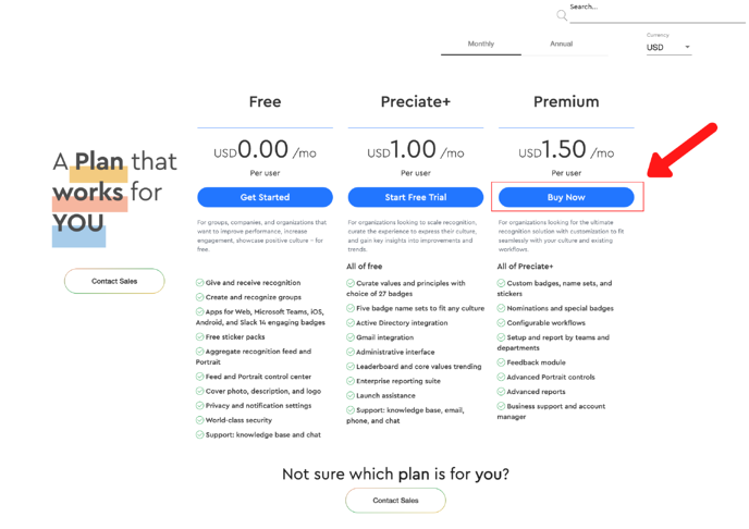 buy preciate premium from pricing page