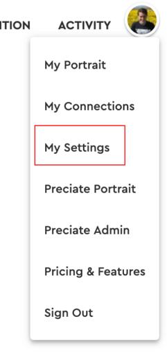 my settings - web dropdown menu