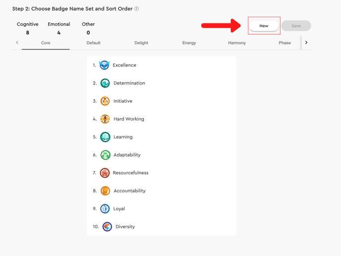 new badge name set decision in admin portal