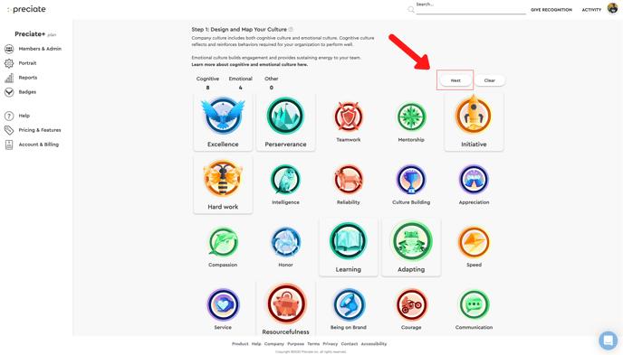 next page on badge selector admin portal