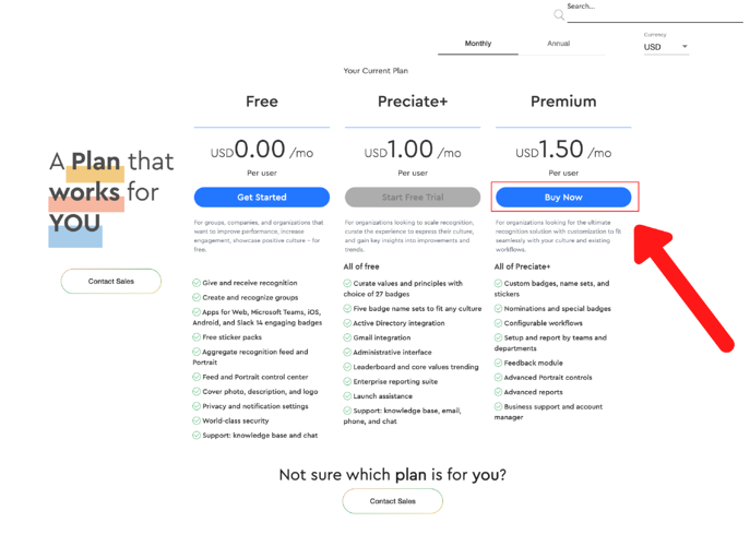 upgrade to premium from preciate+ - pricing page
